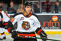 KELOWNA, BC - NOVEMBER 8: Corson Hopwo #16 of the Medicine Hat Tigers warms up against the Kelowna Rockets at Prospera Place on November 8, 2019 in Kelowna, Canada. (Photo by Marissa Baecker/Shoot the Breeze)