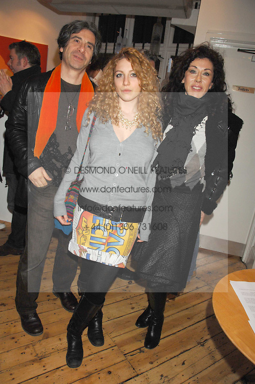 Left to right, COLIN DAVID, his daughter ISABELLE DAVID and her mother HELEN DAVID at an exhibition of artist Natasha Law's work entitled 'Room' hosted by the Eleven gallery in association with Ruinart champagne at 121 Charing Cross Road, London WC2 on 16th January 2008.  Following the private view a dinner was held at Soho House hosted by Ruinart.<br /> <br />  (EMBARGOED FOR PUBLICATION IN UK MAGAZINES UNTIL 1 MONTH AFTER CREATE DATE AND TIME) www.donfeatures.com  +44 (0) 7092 235465