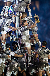The Webb Ellis Cup is held high during the Opening Ceremony - Mandatory byline: Rogan Thomson/JMP - 07966 386802 - 18/09/2015 - RUGBY UNION - Twickenham Stadium - London, England - Rugby World Cup 2015 Opening Ceremony.