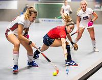 HAMBURG  (Ger) - Semi Final , match 15,  LHMC Laren v Der Club an der Alster (Ger) . Foto: Anne Schröder (Alster)  with Klaartje de Bruijn (Laren)    . Eurohockey Indoor  Club Cup 2019 Women . WORLDSPORTPICS COPYRIGHT  KOEN SUYK