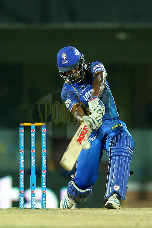 Sanju Samson of Rajasthan Royals during match 47 of the Pepsi IPL 2015 (Indian Premier League) between The Chennai Superkings and The Rajasthan Royals held at the M. A. Chidambaram Stadium, Chennai Stadium in Chennai, India on the 10th May 2015.Photo by:  Prashant Bhoot / SPORTZPICS / IPL