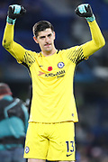 Thibaut Courtois (goalkeeper) of Chelsea acknowledges the home fans after the Premier League match between Chelsea and Manchester United at Stamford Bridge, London, England on 5 November 2017. Photo by Toyin Oshodi.