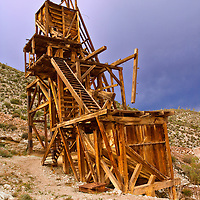 Abandoned Eastern Star Mine header located in the Ivanpah Range of the Mojave National Preserve. The National Park Service is restoring this landmark.