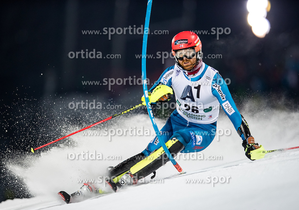 24.01.2017, Planai, Schladming, AUT, FIS Weltcup Ski Alpin, Schladming, Slalom, Herren, 1. Lauf, im Bild Leif Kristian Haugen (NOR) // Leif Kristian Haugen of Norway in action during his 1st run of men's Slalom of FIS ski alpine world cup at the Planai in Schladming, Austria on 2017/01/24. EXPA Pictures © 2017, PhotoCredit: EXPA/ Johann Groder