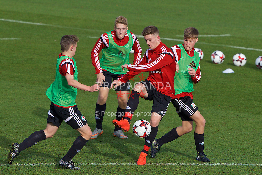 EDINBURGH, SCOTLAND - Monday, October 31, 2016: Wales' Cameron Evans during a training session at ORIAM during the Under-16 2016 Victory Shield tournament. (Pic by David Rawcliffe/Propaganda)