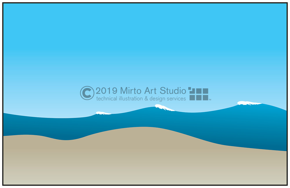 vector artwork of water, swells and whitecaps.