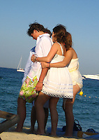 **EXCLUSIVE**.Princess Beatrice, Princess Eugenie hugging Eugenie's boyfriend.Club 55 Restaurant .St. Tropez, France..Sunday, July 29, 2007.Photo By Celebrityvibe.com.To license this image please call (212) 410 5354; or.Email: celebrityvibe@gmail.com ;.