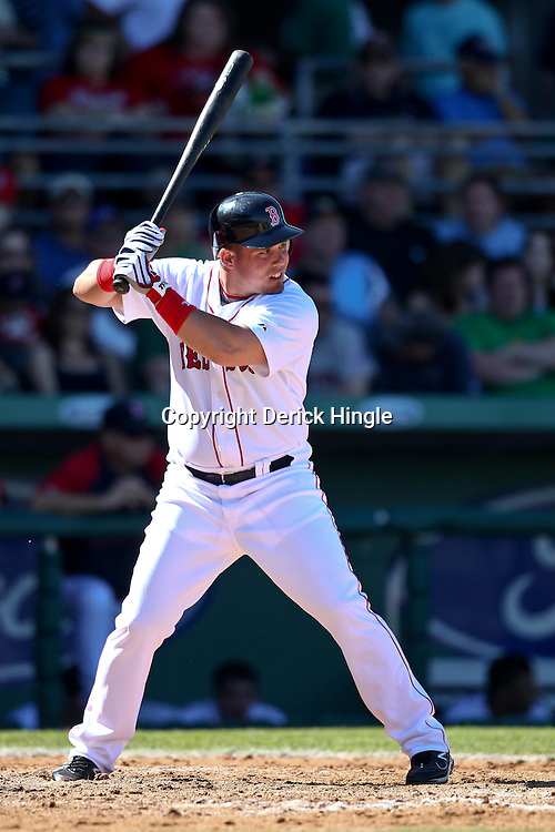 March 12, 2011; Fort Myers, FL, USA; Boston Red Sox left fielder Juan Carlos Linares during a spring training exhibition game against the Florida Marlins at City of Palms Park. The Red Sox defeated the Marlins 9-2.  Mandatory Credit: Derick E. Hingle