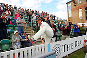 Marcus Trescothick of Somerset goes to stand in the stand named after him on the parade around the County Ground after the win over Nottinghamshire in the Specsavers County Champ Div 1 match between Somerset County Cricket Club and Nottinghamshire County Cricket Club at the Cooper Associates County Ground, Taunton, United Kingdom on 22 September 2016. Photo by Graham Hunt.