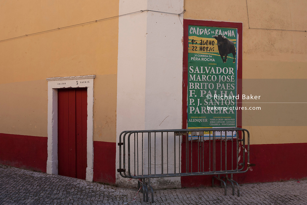 Town poster advertising the next Corrida de touros (bullfight) at Caldas da Rainha, Portugal. Unlike Spanish bullfights, in the Portuguese version, they do not kill the bull.