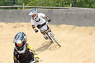 Mason Von Rissen, 6 of Cincinnati and Dylan Lorenz (57), 7 of Dayton during the American Bicycle Association Kettering BMX single races at Delco Park in Kettering, July 1, 2012.