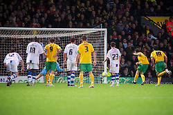 NORWICH, WALES - Saturday, November 14, 2009: Tranmere Rovers' players watch on as Norwich City's Wesley Hoolahan (right) scores from the penalty spot to make it 1-0 during the League One match at Carrow Road. (Pic by David Rawcliffe/Propaganda)