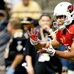 Sep 22, 2013; New Orleans, LA, USA; Arizona Cardinals wide receiver Larry Fitzgerald (11) against the New Orleans Saints before a game at Mercedes-Benz Superdome. The Saints defeated the Cardinals 31-7. Mandatory Credit: Derick E. Hingle-USA TODAY Sports