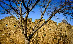 Early morning spring sunshine glances across the walls of the Ch&acirc;teau Comtal  within the medieval  Cit&eacute; de Carcassonne, France<br /> <br /> (c) Andrew Wilson   Edinburgh Elite media