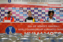 03-12-2019 JAP: Netherlands - Cuba, Kumamoto<br /> Third match 24th IHF Women's Handball World Championship, Netherlands win the third match against Cuba with 51- 23. / Bondscoach Emmanuel Mayonnade of Netherlands, Angela Malestein #26 of Netherlands, Yunisleidy Camejo Rodriguez #11 of Cuba