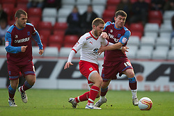 STEVENAGE, ENGLAND - Saturday, December 17, 2011: Tranmere Rovers' David Buchanan in action against Stevenage during the Football League One match at Broadhall Way. (Pic by David Rawcliffe/Propaganda)
