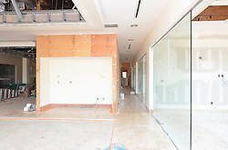 ACMAT Corporation Administrative Headquarters Building. Construction Progress View.Architect: Quisenberry Arcari Architects, LLC  Contractor: Enfield Builders, Inc.  EBI Project #11-013.James R Anderson Photography   New Haven CT   photog.com.Date of Photograph: 24 July 2012  Image No. 12.Camera View: West, Workstations 106 and Office 104 to right.