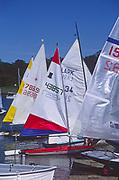 AT5CG5 Sails of sailing dinghy boats River Deben Woodbridge Suffolk