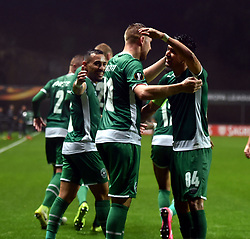 BRAGA, Oct. 20, 2017  Players of Ludogorets celebrates after scoring a goal during the Europa League soccer match between SC Braga and PFC Ludogorets 1945 at the Braga Municipal Stadium in Braga, Portugal, on Oct. 19, 2017. (Credit Image: © Zhang Liyun/Xinhua via ZUMA Wire)