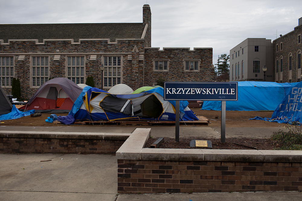 No Joy in Krzyzewskiville  a visual survey of the temporary campgrounds outside Cameron Indoor Stadium on the campus of Duke University one day after UNC defeated the Blue Devils 88-70 to claim the regular season AAC title, Sunday, March 4, 2012. Students had been camping in shifts for several weeks in order to attend the match-up between the long-time college basketball rivals.