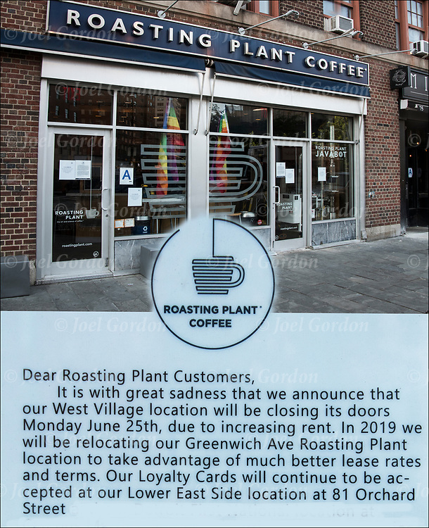 For the last 10 years Roasting Plant Coffee served the West Village community, providing quality fresh roasted coffee. On Monday 25, 2018 due to increasing rent they are relocating to a  location to take advantage of much better lease rates and terms.