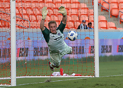 July 18, 2018 - Houston, TX, U.S. - HOUSTON, TX - JULY 18:   Sporting Kansas City goalkeeper Tim Melia (29) dives to make a save during the US Open Cup Quarterfinal soccer match between Sporting KC and Houston Dynamo on July 18, 2018 at BBVA Compass Stadium in Houston, Texas. (Photo by Leslie Plaza Johnson/Icon Sportswire) (Credit Image: © Leslie Plaza Johnson/Icon SMI via ZUMA Press)
