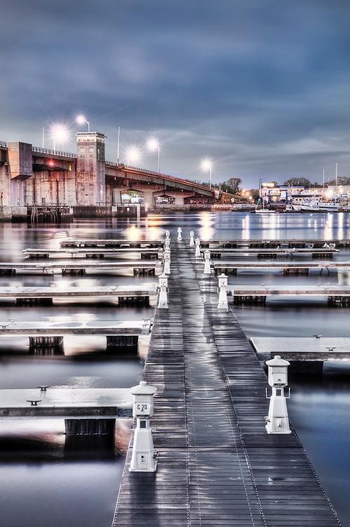 Boat slips on the Merrimack River, Newburyport, MA HDR