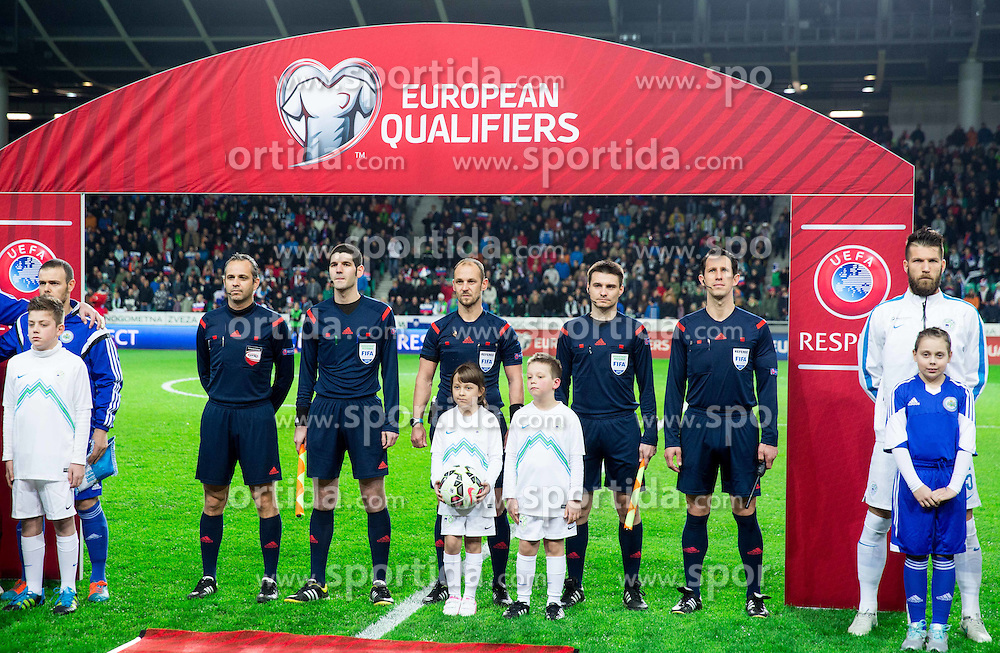 Referees: Alexander Harkam, Roland Brandner, Oliver Drachta, Stefan Kuehr, Rene Eisner (ALL of Austria) prior to the football match between NationalTeams of Slovenia and San Marino in Round 5 of EURO 2016 Qualifications, on March 27, 2015 in SRC Stozice, Ljubljana, Slovenia. Photo by Vid Ponikvar / Sportida
