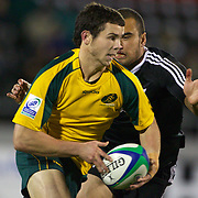 Robbie Coleman, Australia, is tackled by Charlie Ngatai, New Zealand, during the Australia V New Zealand Final match at the IRB Junior World Championships in Argentina. New Zealand won the match 62-17 at Estadio El Coloso del Parque, Rosario, Argentina,. 21st June 2010. Photo Tim Clayton...