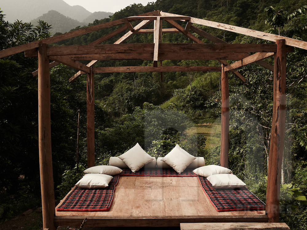 Japanese style sitting area in Hieu resort, Pu Luong natural reserve, Vietnam, Asia