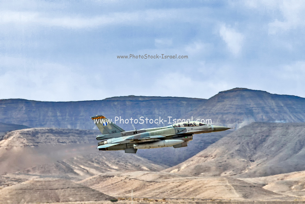 """Greek Air Force General Dynamics F-16C Block 52+ in flight over the desert. Photographed at the  """"Blue-Flag"""" 2017, an international aerial training exercise hosted by the Israeli Air Force (IAF) at Ouvda airfield, Israel. November 2017"""