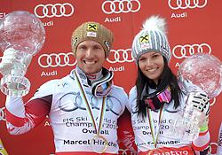 22.03.2015, Roc de Fer, Meribel, FRA, FIS Weltcup Ski Alpin, Meribel, Gesamtweltcup, Siegerehrung, im Bild Marcel Hirscher (AUT, 1. Platz) und Anna Fenninger (AUT, 1. Platz) mit den Kristallkugeln für den Gesamtweltcup // Marcell Hirscher of Austria and Anna Fenninger of Austria with their crystal globes for the Overall winner of FIS World Cup during the overall winner Ceremony for the FIS World Cup at the Roc de Fer in Meribel, France on 2015/03/22. EXPA Pictures © 2015, PhotoCredit: EXPA/ Erich Spiess