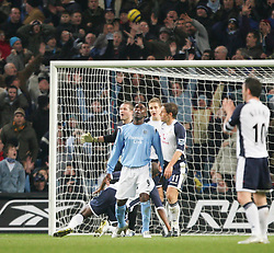 MANCHESTER, ENGLAND - WEDNESDAY, JANUARY 4th, 2006: Manchester City's Andy Cole looks dejected after missing a chance against Tottenham Hotspur during the Premiership match at the City of Manchester Stadium. (Pic by David Rawcliffe/Propaganda)