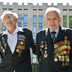 Veteran of the soviet army displaying his medals, Tashkent, Uzbekistan, Asia.