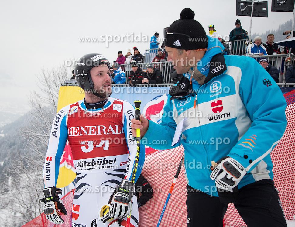 25.01.2013, Streif, Kitzbuehel, AUT, FIS Weltcup Ski Alpin, Super G, Herren, im Bild Stephan Keppler (GER) nach seinem ausscheiden mit Karlheinz Waibel (DSV Herren Cheftrainer) // Stephan Keppler of Germany after he crasht with Karlheinz Waibel (DSV men head coach) during mens SuperG of the FIS Ski Alpine World Cup at the Streif course, Kitzbuehel, Austria on 2013/01/25. EXPA Pictures © 2013, PhotoCredit: EXPA/ Johann Groder