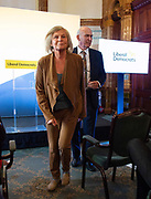 """Vince Cable speech """"Turning the Lib Dems into a Movement of the Moderates"""" - the  launch of Liberal Democrat reform proposals, including speech and press Q&A.<br /> 7th September 2018  <br /> At the National Liberal Club, London. Great Britain <br /> <br /> Vince Cable MP leaves with his wife Rachel Smith <br /> <br /> <br /> Photograph by Elliott Franks"""