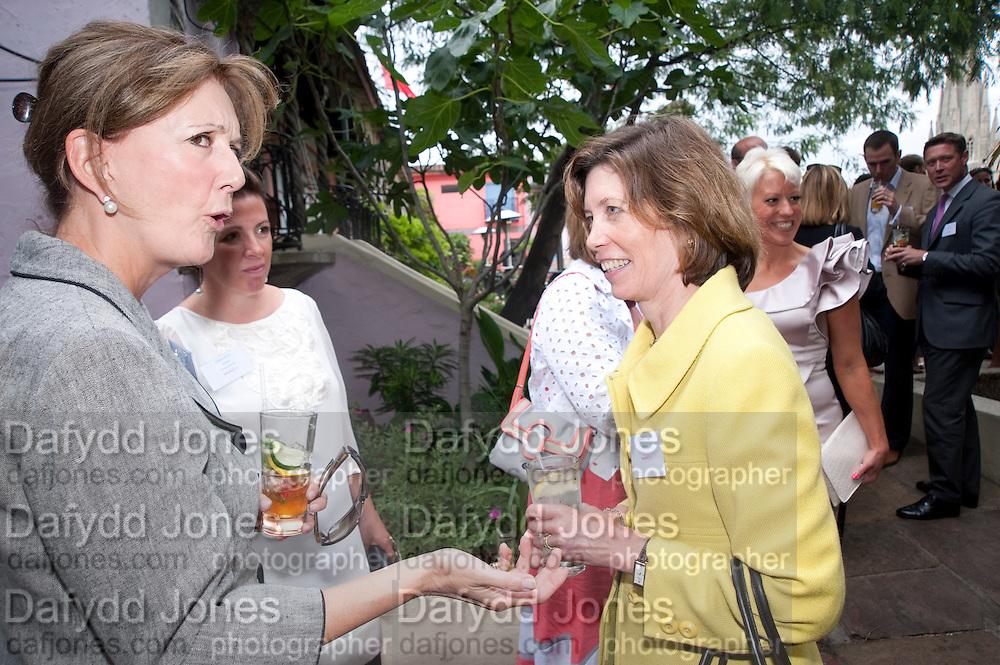 BABA HOBART; ELIZABETH TAGGE, Archant Summer party. Kensington Roof Gardens. London. 7 July 2010. -DO NOT ARCHIVE-© Copyright Photograph by Dafydd Jones. 248 Clapham Rd. London SW9 0PZ. Tel 0207 820 0771. www.dafjones.com.