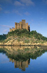 Europe, Portugal, Almourol, Castelo do Almourol (built 1171) reflected in Tagus River