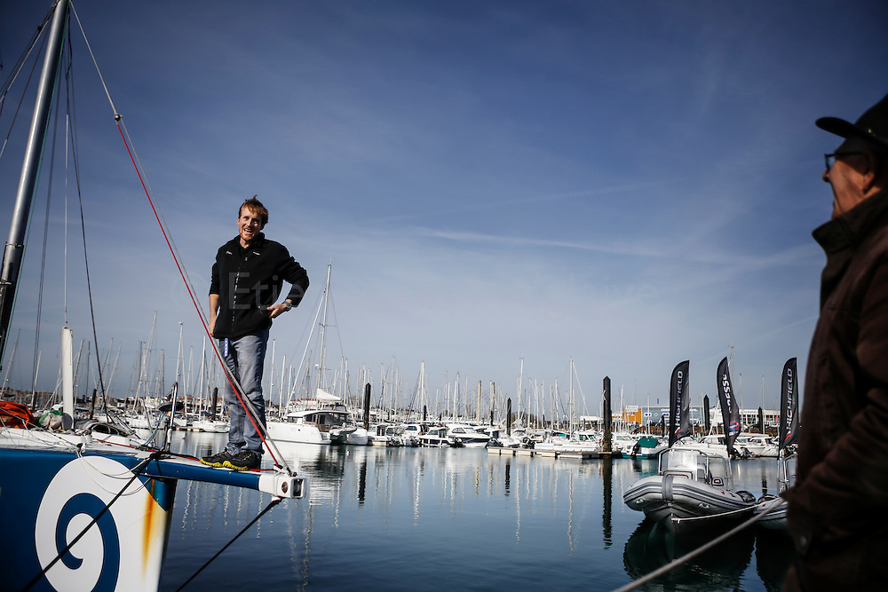 New Zealand sailor Conrad Colman on his boat the day after he crossed the Vendee Globe Race finish line in Sables d'Olonne. 25 February 2017.