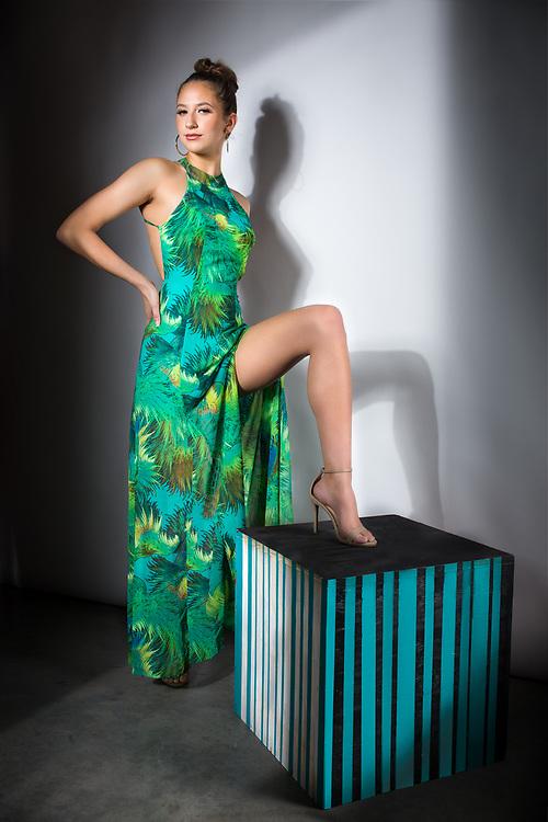 Houston fashion model Rachael Campbell studio fashion shot, showing off great legs.