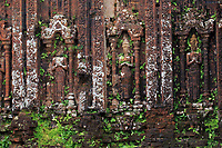 Encroaching moss and Hindu statues at My Son Sanctuary, Qang Nam Province, Vietnam