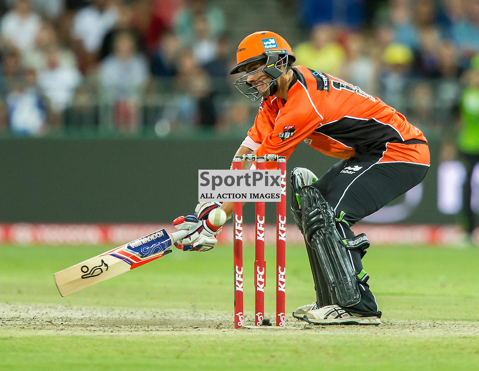 KFC Big Bash League T20 2015-16 , Sydney Thunder v Perth Scorchers, Spotless Stadium; 7 January 2016<br /> Perth Scorchers Ashton Agar plays and misses a ball close to his stumps.