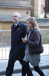 Labour leader Jeremy Corbyn with aide Sian Jones arrives to observe a two minute silence on Armistice Day at the Cenotaph in Manchester.