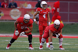 NORMAL, IL - September 08: Donavin O'Day, Brady Davis, Chad Kanugh during 107th Mid-America Classic college football game between the ISU (Illinois State University) Redbirds and the Eastern Illinois Panthers on September 08 2018 at Hancock Stadium in Normal, IL. (Photo by Alan Look)