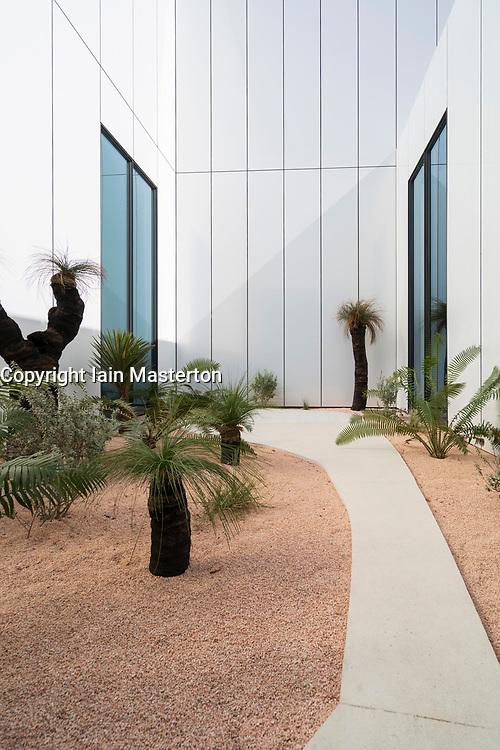 View of outdoor Australian garden at new Jameel Arts Centre in Dubai, UAE, United Arab Emirates