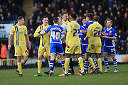 Pushing, Shoving  during the Sky Bet League 1 match between Rochdale and Millwall at Spotland, Rochdale, England on 13 February 2016. Photo by Daniel Youngs.