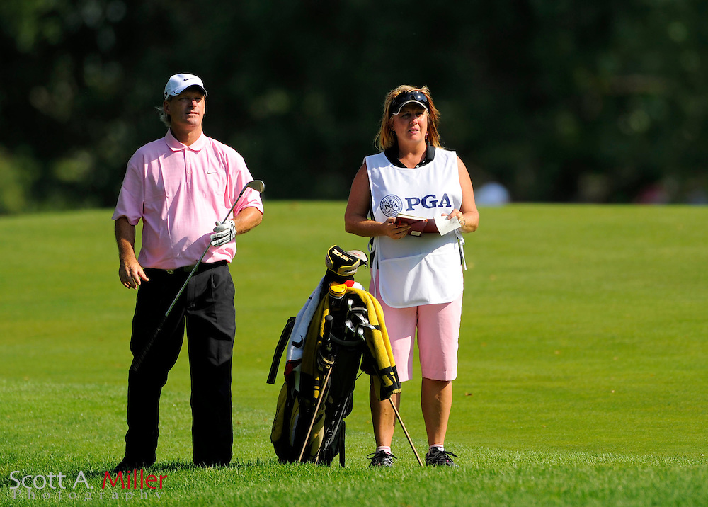 Aug 14, 2009; Chaska, MN, USA; Chris Starkjohann with his caddie during the second round of the 2009 PGA Championship at Hazeltine National Golf Club.  ©2009 Scott A. Miller