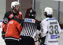 Conrad Martin in the fight with Frank Banham at 52nd round of EBEL league ice hockey match between HK Acroni Jesenice and HDD Tilia Olimpija, on January 29, 2009, in Podmezaklja, Jesenice, Slovenia. Acroni Jesenice won 5:3. (Photo by Vid Ponikvar / Sportida)