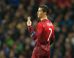 MANCHESTER, ENGLAND - Tuesday, November 18, 2014: Portugal's captain Cristiano Ronaldo gestures to the referee during the International Friendly match against Argentina at Old Trafford. (Pic by David Rawcliffe/Propaganda)