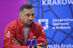 December 8, 2017 - Krakow, Poland - Kamil Wisniewski, a Polish quad rally driver and participant of Dakar Rally 2018, speaks during a press conference ahead of the Krakow's leg of the FIM SuperEnduro World Championship 2018 in Tauron Arena...On Friday, December 8, 2017, in Krakow, Poland. (Credit Image: © Artur Widak/NurPhoto via ZUMA Press)